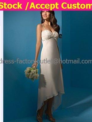Ivory Chiffon Bridal Evening Dress Thin Straps High Front Low Back Hi-low Beach Wedding Dress