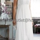 White Chiffon Empire Bridal Evening Dress Halter High Front Low Back Hi-low Beach Wedding Dress