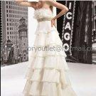 Ivory Cascading Organza Empire Waist Bridal Evening Dress Strapless Long Maternity Wedding Dress