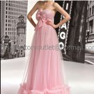Pink Tulle Empire Waist Bridal Evening Dress Strapless Long Maternity Wedding Dress & Bow