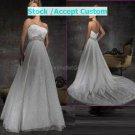 White Lace Empire Waist Bridal Evening Dress Strapless Jeweled Long Wedding Dress
