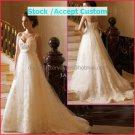 Ivory LaceTule Empire Waist Bridal Evening Dress Thin Straps Long Royal Wedding Dress