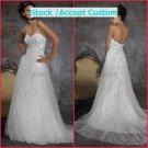 White Tulle Lacve Applique Empire Waist Bridal Evening Dress Thin Straps Long Royal Wedding Dress