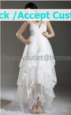 White Lace Purfle Empire Waist Bridal Evening Dress Sleeveless Long Maternity Wedding Dress