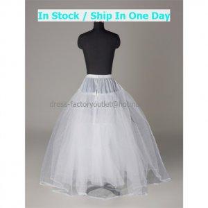 A-line White Nylon TulleS No Hoop Wedding Petticoat Dress Underware Bridal Bustle Soft Crinoline P8