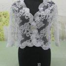 Ivory White Alencon Lace Bridal Dress Jacket V-neck Long Sleeves Wedding Dress Bolero Jacket J01