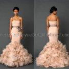 Strapless Mermaid Bridal Gown Drop-waist Corset Nude Organza Skirt Wedding Dress