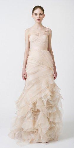 One Shoulder Sheer Straps Nude Organza Bridal Gown Full-length Asymmetrically Wedding Dress V2