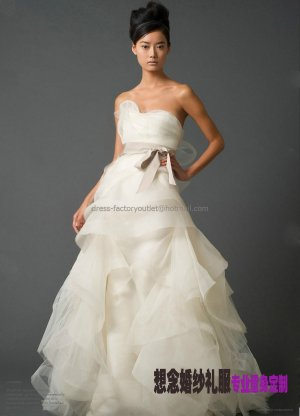 A-line White  Ruffled Organza  Bridal Ball Gown Asymmetrically Wedding Dress Free Sash V66