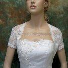 Ivory White Lace Short Sleeves Short Bridal Dress Jacket Evening Wedding Dress Bolero Jacket J27