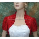 Custom Red Lace Short Sleeves Short Bridal Dress Jacket  Wedding Prom Dress Bolero Jacket J65