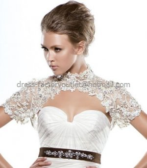 Ivory White Lace High Neck Short Sleeves Bridal Jacket