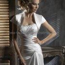 Ivory White Satin Short Sleeves Bridal Vest Shawl Wedding Bolero Jacket J34