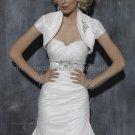 Ivory White Taffeta Short Sleeves Bridal Vest Shawl Wedding Bolero Jacket J35