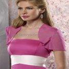 Custom Fuchsia Chiffon Short Sleeves Bridal Vest Shawl Wedding Evening Dress Bolero Jacket J52