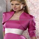 Custom Stock Fuchsia Satin Long Sleeves Bridal Vest Shawl Wedding Evening Dress Bolero Jacket J55