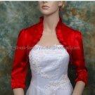Custom Stock Red Satin 3/4 Long Sleeves Bridal Vest Shawl Wedding Evening Dress Bolero Jacket J66
