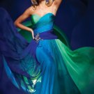 Straples Green Blue Multi Colors Chiffon Bridal Bridesmaid Evening Dress Long Prom Dress Sz2-16+