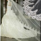 1 Tier Wide Luxury Lace Ruffles Tulle Wedding Veil 2.8X1.5 M Bridal Dress Veil