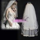2 Tier Satin Edge Ruffles Tulle Short Wedding Veil 1X1.5 M Bridal Dress Veil