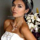 1 Rose White Ivory Net Short Wedding Veil  Bridal Dress Birdcage Veil BV02
