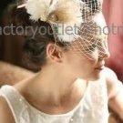 2 Feather FlowerS White Ivory Tulle Short Wedding Veil  Bridal Dress Birdcage Veil bv01