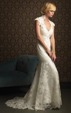 Alencon Lace Bridal Gown Cap Sleeves Hollow Back Beaded Mermaid Wedding Dress