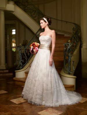 Discount  Lace Applique Bridal Gown Strapless Ivory White A-line Champagne SASH Wedding Dress
