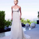 White Ivory Chiffon Empire Waist Bridal Evening Dress Spaghetti Straps Long Maternity Wedding Dress