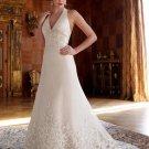 Champagne Satin Empire Waist Royal Bridal Dress Lace Hem Hater Pregnant Wedding Dress
