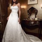 A-line Bridal Ball Gown Strapless Embroidery Applique Satin Ivory White Wedding Dress W275