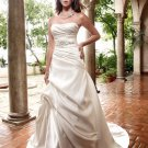 A-line Bridal Ball Gown Strapless Champagne Satin Free Jeweled Sash Ivory White Wedding Dress W285