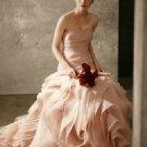 Strapless Ballgown Draped Corset Pink White Organza Bridal Wedding Dress