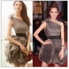 One Shoulder Coffee Organza Bridal Dress Cocktail Dress Black Sash Short Bridesmaid Dress