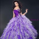 Strapless Purple Lavender Organza Bridal Ball Gown Beaded Cascading Ruffles A-line Quinceanera Dress