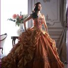 Strapless Gold Brown Bridal Ball Gown Embroidery Ruffles A-line Quinceanera Dress