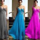 One Shoulder Aqua Blue Chiffon Bridal Evening Dress Pleated A-line Prom Dress Formal Gown