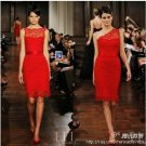 Venice Lace Red Short Bridal Evening Gown Ivory White Lace One Soulder Boat Neck Wedding Dress