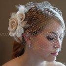 4 Roses Ivory Champagne Tulle Feather Short Wedding Veils Bridal Fascinate Birdcage Veil