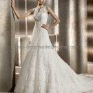 Custom Sleeveless Lace Bridal Gown Ivory Alencon Lace A line Wedding DresS pv311