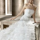 A-line Creped Organza Lace Bridal Ball Gown Strapless Layered Wedding Dress Lace Up Back pv315
