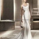 Sheath Bridal Ball Gown Puma U-neck Ivory Soft Lace Satin Wedding Dress Sz24 6 8 10 12+