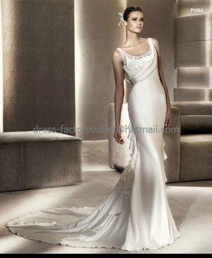 Sheath Bridal Ball Gown Puma U-neck Ivory Soft Lace Satin Wedding Dress Sz24 6 8 10 12+