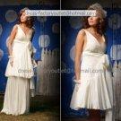 2-In-1 Dismountable Wedding Dress A-line Long Bridal Gown V-neck Short Bridal Dress