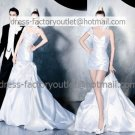 2-In-1 Demountable White Wedding Dress One Shoulder Long Bridal Dress A-line Short Bridal Dress