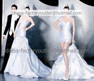 2-In-1 Demountable White Wedding Dress One Shoulder Long Bridal Dress A-line Short Bridal Dress