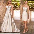 2-In-1 Dismountable Champagne Satin Wedding Dress A-line Long Bridal Dress Short Sheath Bridal Dress