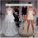 2-In-1  Sz24 6 8 10+ White Lace Wedding Dress Long Bridal Dress Short Pants Bridal Dress