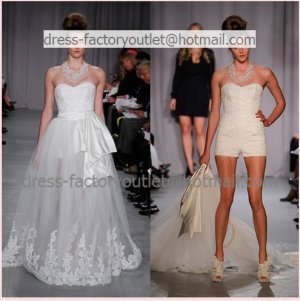 2 in 1 sz24 6 8 10 white lace wedding dress long bridal dress short