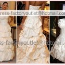 2-In-1 Dismountable White  Taffeta Wedding Dress Strapless Long Bridal Dress Short Bridal Dress